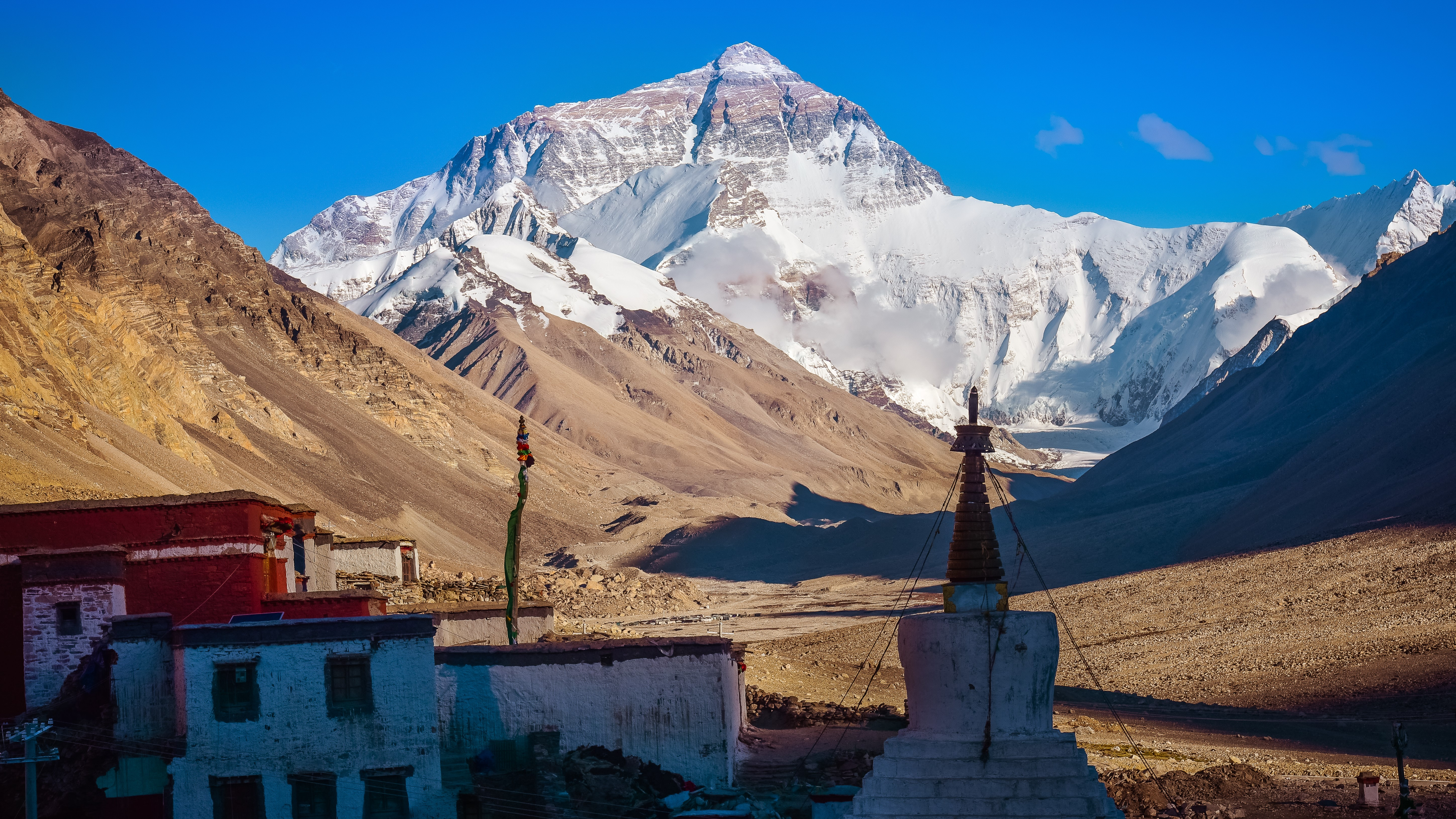Rongbuk Monastery with Mount Everest